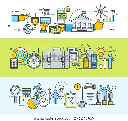 Set of thin line flat design concept banners for online payment, online banking, commerce, banner for about us page, business process from the idea through research planning, development to success. - stock vector