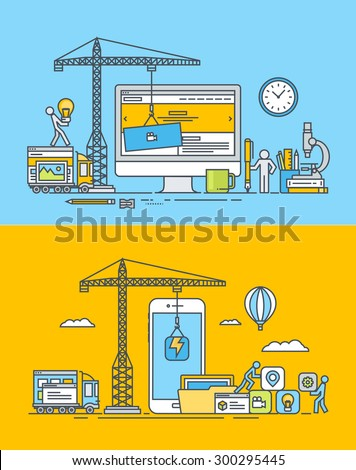Set of thin line flat design concepts of web and mobile sites and apps design and development. Vector illustrations for web banners and promotional materials.    - stock vector