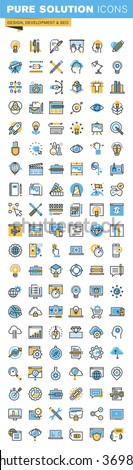 Set of thin line flat design icons of design, web development and seo. Icons for websites, mobile websites and apps, easy to use and highly customizable. - stock vector