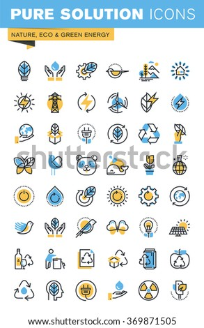 Set of thin line flat design icons of nature, eco and green energy. Icons for websites, mobile websites and apps, easy to use and highly customizable. - stock vector