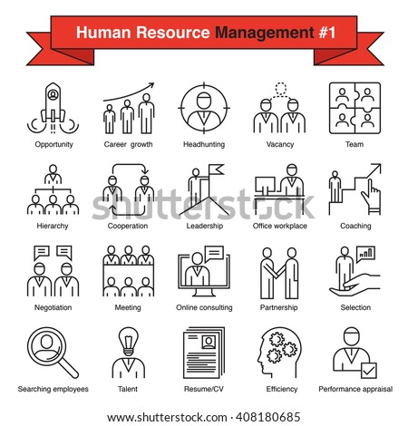 Set of thin line flat design vector icons for human resource management, recruitment, searching employees, work of company, career, coaching. Collection of outline symbols isolated on white - stock vector