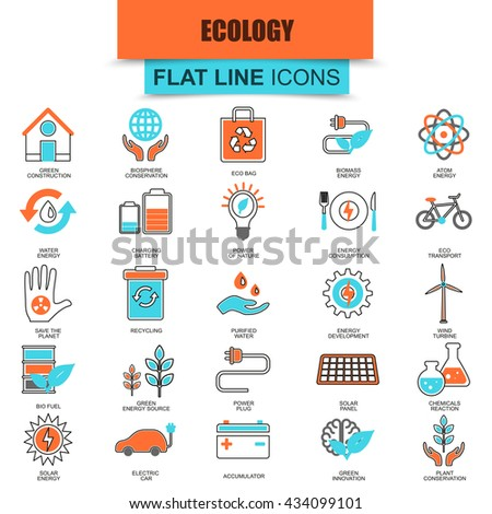 Set of thin line flat icons for ecological energy source, environmental safety, environment, renewable energy, sustainable technology, recycling, ecology solutions. Linear symbols. - stock vector