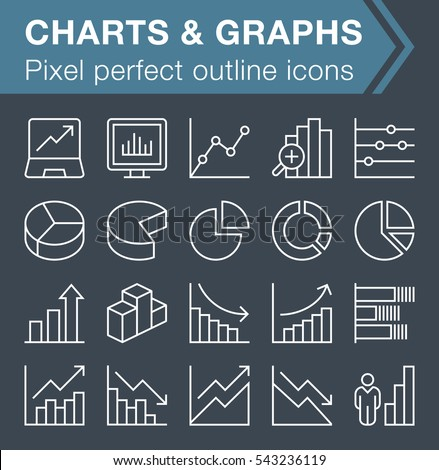 Set of thin line graphs and charts icons for mobile apps and web design.  Pixel perfect trendy thin line icons. Editable stroke.