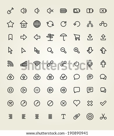 Set of Thin line Icon Collection - stock vector