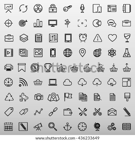 Set of 81 Thin Line Icons. Business, Technology, E-Commerce, Shopping