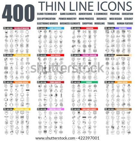 Set of thin line icons for cloud tehnology and devices, seo, industry, business elements, advertising, shopping, e-commerce, web development, ecology, travel, business education. Linear symbols set. - stock vector