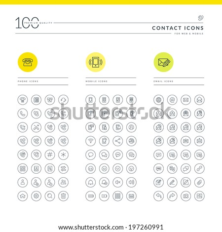 Set of thin line icons for communication - stock vector