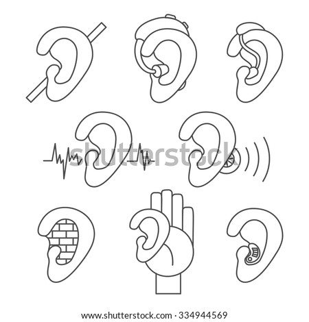 Set of thin line icons for hearing problems. Collection of simple vector icons in linear design for hearing loss, hard of hearing, deafness, hearing aids, hearing test etc.  - stock vector