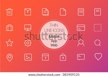 Set of 18 thin line icons for web,applications,mobile(File, document,bill,purchase order,select all,edit,comment,chat,location,favorite,love/star,message,delete, lock/protect,monitor,briefcase icons) - stock vector