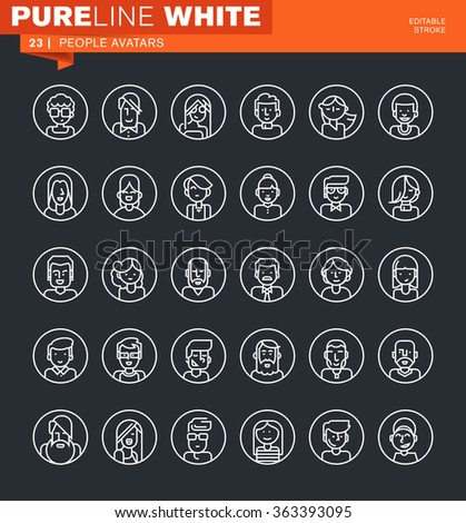 Set of thin line people avatars icons. Icons for website and mobile website and apps with editable stroke.  - stock vector