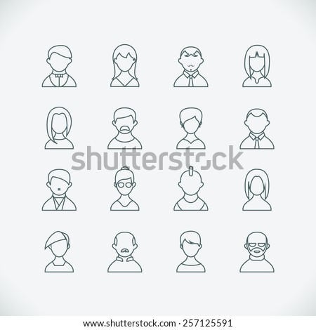 Set of thin line people icons. Man and woman with different image and hairstyles. Vector illustration - stock vector