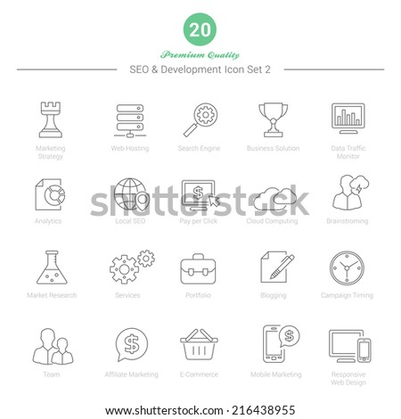 Set of Thin Line SEO and Development icons Set 2 Vector Illustration - stock vector
