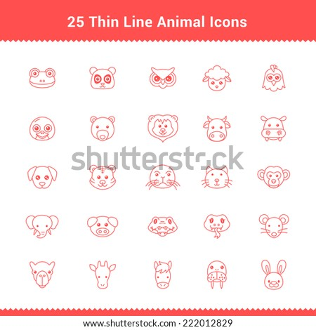 Set of Thin Line Stroke Animal Icons Vector Illustration - stock vector