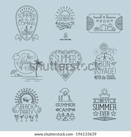 Set of Thin line Summer Travel and Holiday Outlined Label and Emblem Illustrations - stock vector