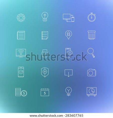 Set of thin line vector business icons - stock vector