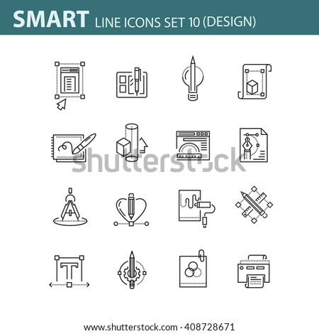 Set of 16 thin line vector design icons, business management, Mmno line pictograms and infographics design elements - stock vector