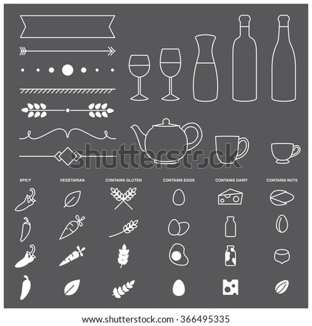 Set of thin line vector elements and allergy icons for restaurant menu design - stock vector