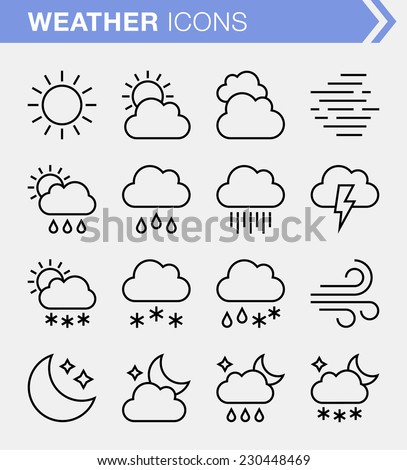 Set of thin line weather icons. - stock vector