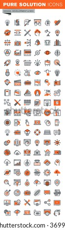 Set of thin line web icons for graphic and web design and development. Icons of app development, cloud computing, website maintenance, online security, seo, data protection, design solutions. - stock vector