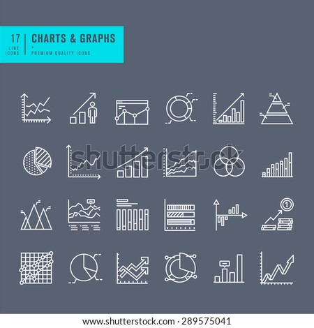 Set of thin line web icons of charts and diagrams - stock vector