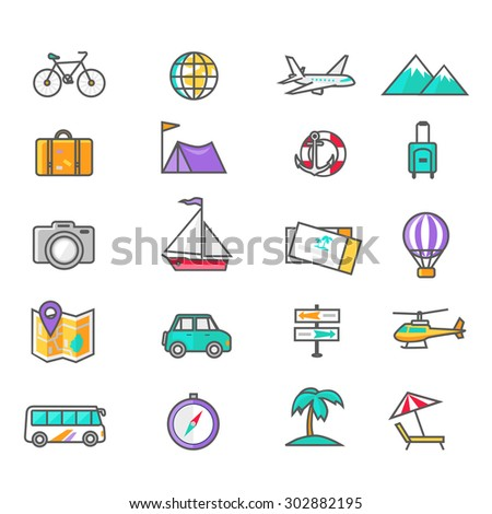 Set of thin lines icons of traveling, planning a summer vacation, tourism and journey objects and passenger luggage in flat design. Different types of travel. Business travel concept - stock vector