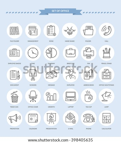 Set of thin, lines, outline office items icons. Ooffice icons, business icon set, office business icons, web icon set, business and finance, office and business. Interface vector icon - stock vector