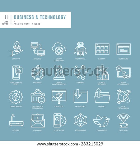 Set of thin lines web icons for business and technology - stock vector