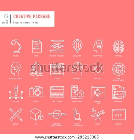 Set of thin lines web icons for graphic and web design - stock vector