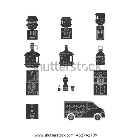 Set of thin vector flat icons for water coolers business. Water bottles, water coolers, water delivery car isolated on white. Design elements for business, website, mobile app. Water bottle icons. - stock vector