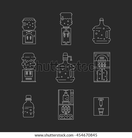 Set of thin vector  line icons for water coolers business. Water bottles, water coolers, isolated on background. Design elements for business, mobile and app. Water bottle delivery icons. - stock vector