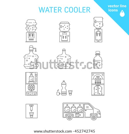 Set of thin vector  line icons for water coolers business. Water bottles, water coolers, water delivery car isolated on white. Design elements for business, website, mobile app. Water bottle icons. - stock vector