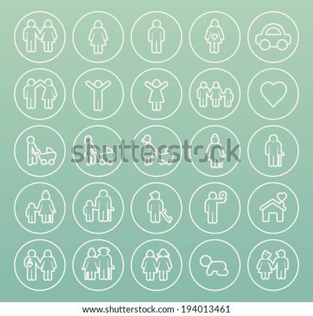 Set of Thin White Stroke Family Icons on Circular Buttons. - stock vector