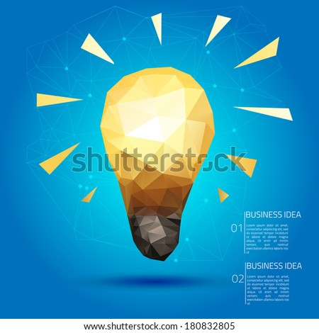 Set of thinking doodles elements, idea triangle card on blue background - stock vector