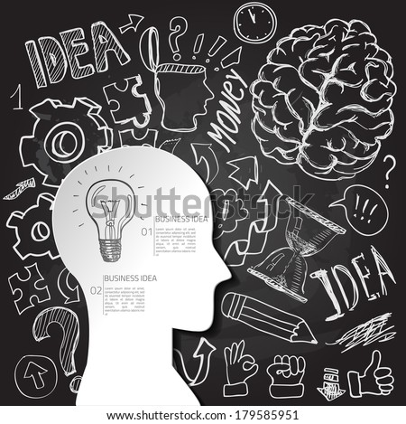 Set of thinking doodles elements on chalkboard, business card, good idea - stock vector