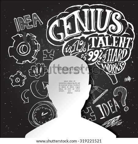 Set of thinking doodles elements vector illustration hand drawn - stock vector