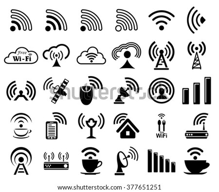 Set of thirty different black vector wireless and wifi icons for remote access and communication via radio waves - stock vector