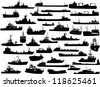 Set of 38 (thirty eight) silhouettes of sea yachts, towboat and the ships - stock photo