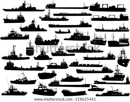 Set of 38 (thirty eight) silhouettes of sea yachts, towboat and the ships - stock vector