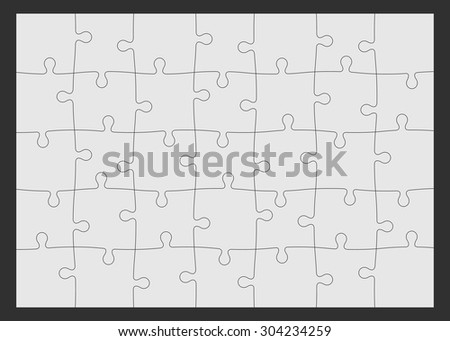 Set of thirty-five puzzle pieces. Vector illustration, eps 8. - stock vector