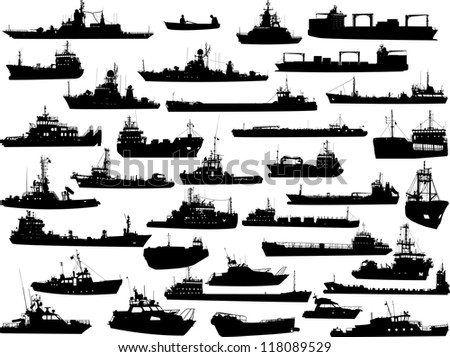 Set of 35 (thirty five) silhouettes of sea yachts, towboat and the ships - stock vector