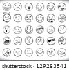 Set of thirty hand drawn emoticons or smileys each with a different facial expression and emotion, sketched outline on white - stock photo