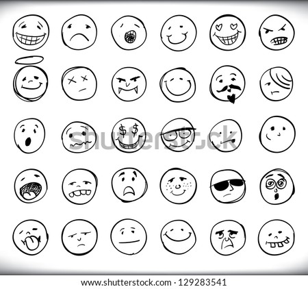 Set of thirty hand drawn emoticons or smileys each with a different facial expression and emotion, sketched outline on white - stock vector