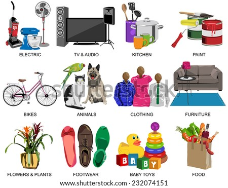 Set of thirty one colorful icons for Department store divided to twelve subjects in vector format - stock vector