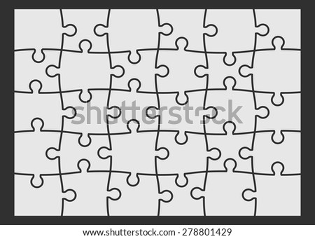 Set of thirty puzzle pieces. Vector illustration, eps 8. - stock vector