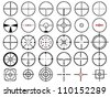 Set of thirty vector cross hairs, isolated on white - stock vector