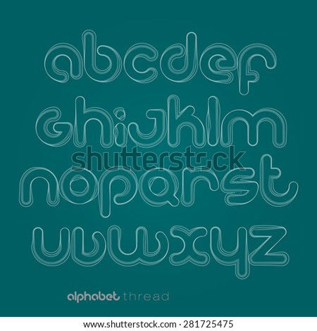 set of thread style alphabet letters isolated on blue background. vector font type design - stock vector