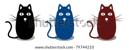 Set of three abstract cats - stock vector