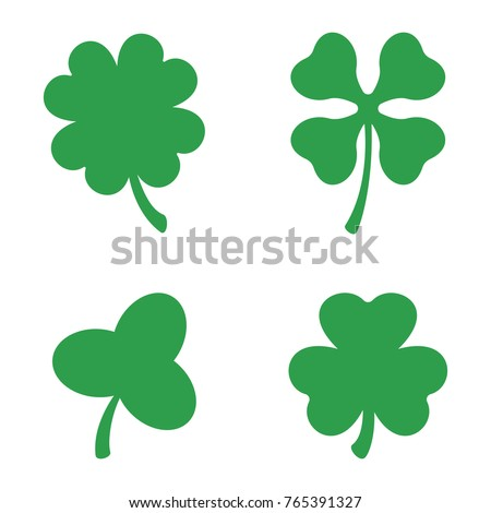 set three four leaf clovers vector stock vector 2018 765391327 rh shutterstock com four leaf clover vector image four leaf clover vector art