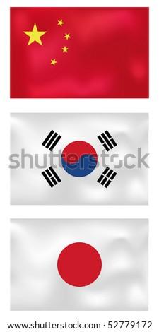 set of three asian wave flags, china, korea, japan - stock vector