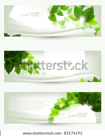set of three banners - stock vector